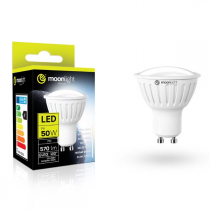 LED žárovka Moonlight GU10, 220-240V, 7W, 570lm, 6000k, studená, 25000h, 2835, 50mm/54mm